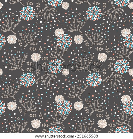 elegant floral seamless pattern over brown background - stock vector