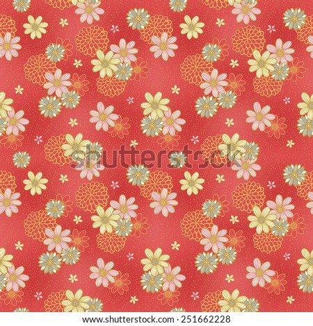 elegant floral seamless pattern over red background - stock vector