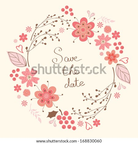 Elegant floral wreath. Ideal for wedding and Birthday invitations - stock vector