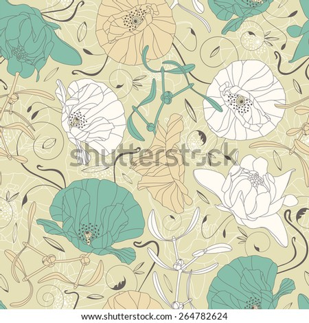 elegant flowers and leaves on a green background in seamless pattern  - stock vector