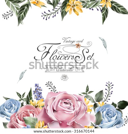 elegant flowers card template in watercolor style  - stock vector