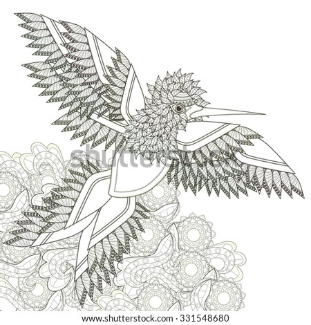 elegant flying bird coloring page design in exquisite style - stock vector