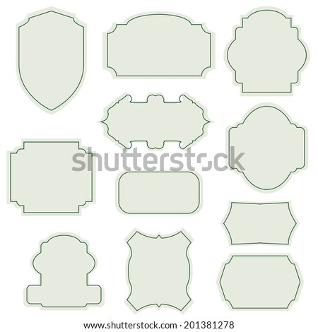 elegant frame and ribbon set. Vector illustration. - stock vector