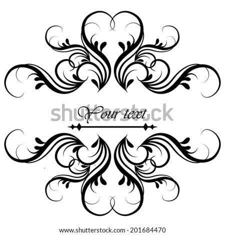 Elegant frame banner, floral elements. Vector illustration. - stock vector