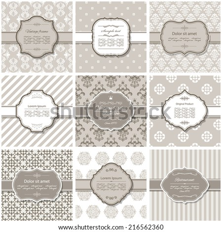 Elegant frame on pattern set in pastel beige. - stock vector