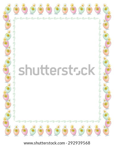 Elegant frame with bottles of perfume isolated on a white background - stock vector