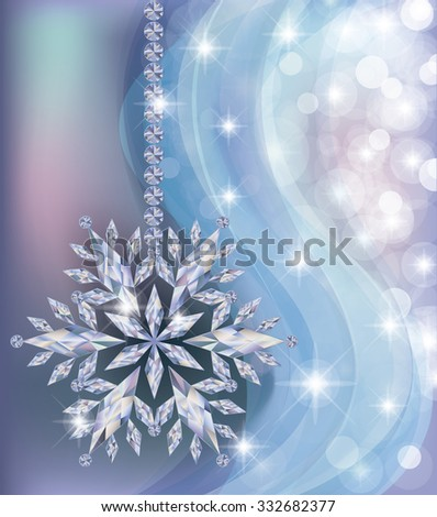 Elegant frozen new year wallpaper with diamond snowflake, vector illustration