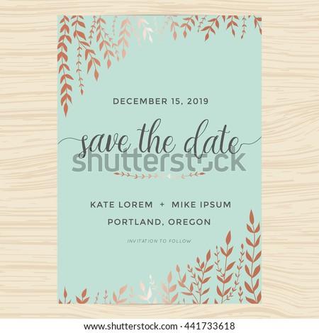 Elegant Garden Leafs Design Save Date Stock Vector - Garden wedding invitations templates