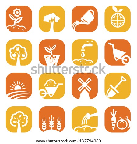 Elegant Gardening Icons Set Created For Mobile, Web And Applications. - stock vector
