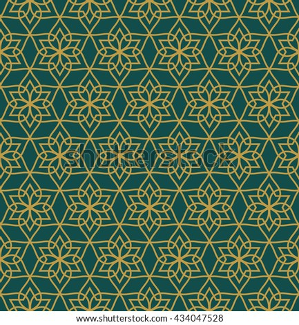 Elegant geometric arabic seamless vector pattern. Abstract oriental style background.