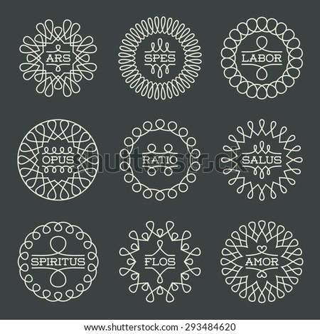 Elegant Geometric Frames Insignias Logotypes Template Set. Line Art Vector Vintage Style Elements. - stock vector