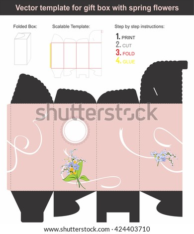 Elegant Gift Box in tall shape with hand drawn spring flowers | Scalable template | Die-stamping - stock vector