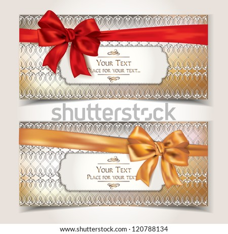 Elegant gift cards with pattern and ribbons - stock vector