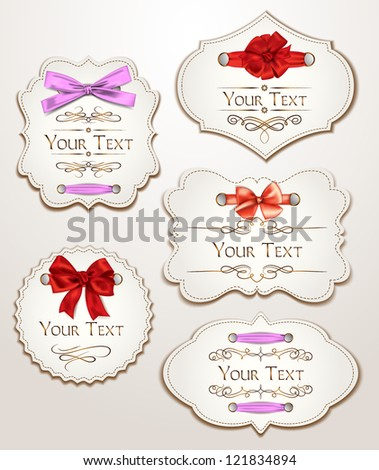 Elegant gift cards with  silk ribbons - stock vector