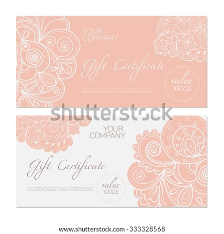 Elegant gift certificate template. Abstract ornamental background. - stock vector