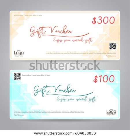 Elegant Gift Voucher Gift Card Coupon Stock Vector 604858853