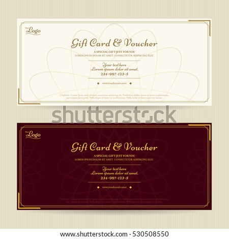 Elegant gift voucher gift card template stock vector 530508550 elegant gift voucher or gift card template with gold border negle Gallery