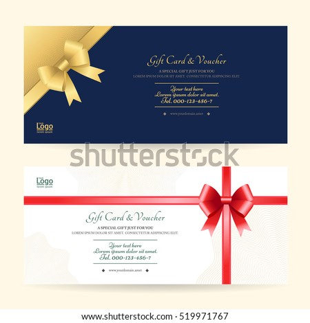 Elegant gift voucher or gift card template with shiny gold and red bows and ribbons vector