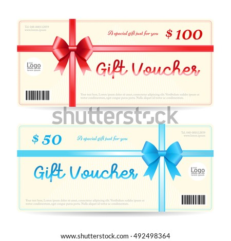 Elegant Christmas Gift Card Gift Voucher Stock Vector 485536852