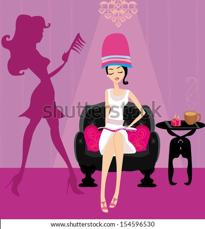 elegant girl in a beauty salon reading the newspaper - stock vector