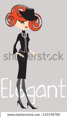 Elegant girl with pearls and little black dress - stock vector