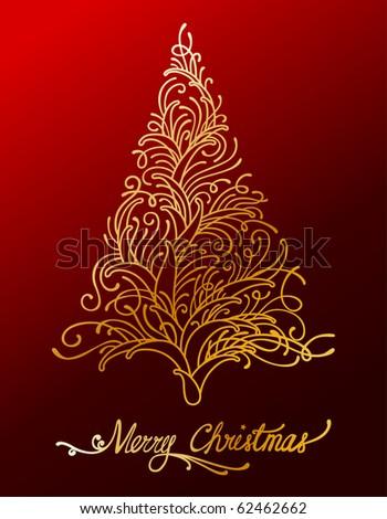 Elegant gold floral christmas tree - stock vector
