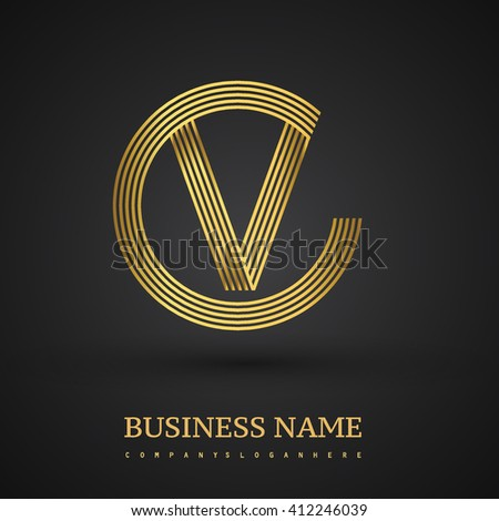 Elegant Gold Letter V Symbol Vector Stock Photo Photo Vector