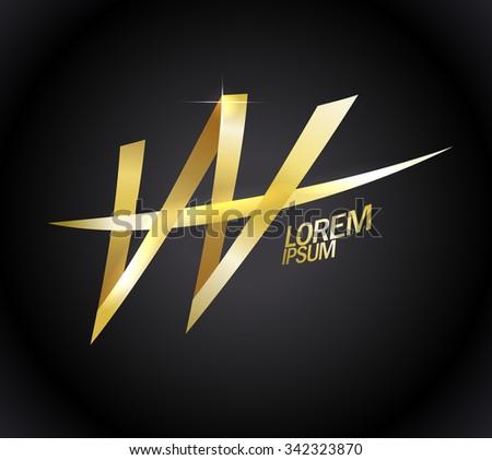 Elegant gold letter W logotype. - stock vector