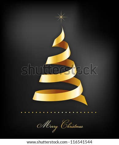 Elegant golden Christmas background with tree and lights - stock vector