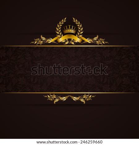 Elegant golden frame banner with gold crown, laurel wreath on ornate black background. Luxury floral background in vintage style. Vector illustration EPS 10. - stock vector