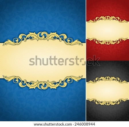 Elegant golden frame banner with ornate wallpaper background A collection of royal aged damask parchments - stock vector