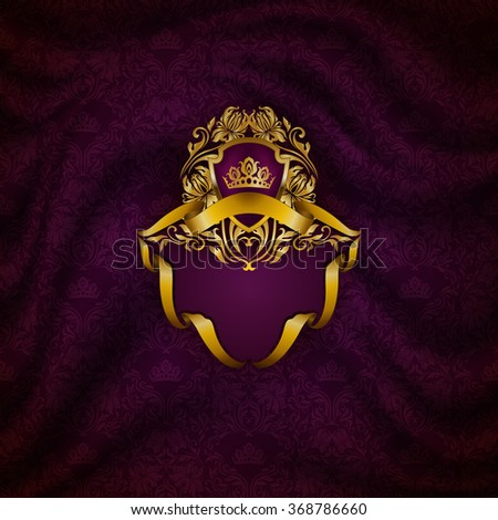 Elegant golden frame with floral elements, filigree ornament, gold crown, shield, ribbons, place for text on purple drapery fabric. Luxury ornate background in vintage style. Vector illustration EPS10 - stock vector