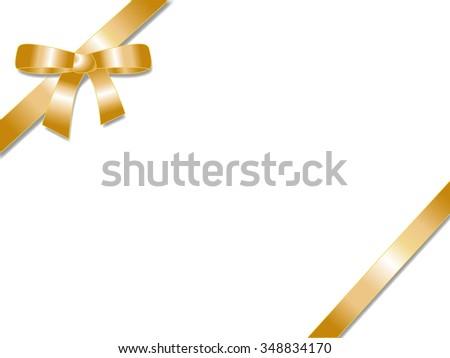 Elegant golden gift ribbon bow - stock vector