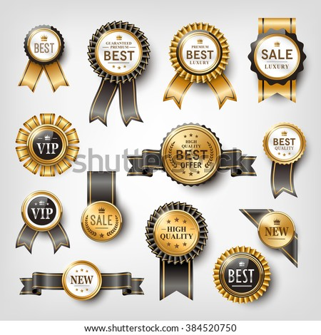 elegant golden labels collection set for retail usage - stock vector