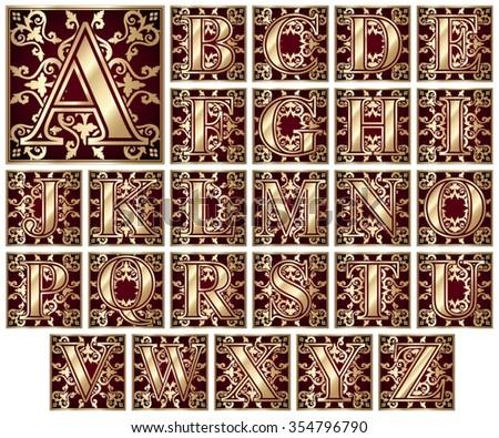 elegant golden letter alphabet / vintage/ vector illustration set  - stock vector