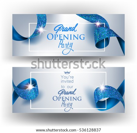 Elegant grand opening invitation cards  with blue textured curled gold ribbons. Vector illustration