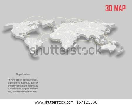 Elegant gray 3d vector World Map - stock vector