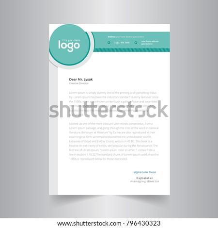 Elegant Green Letterhead Design Template With Circle Shape