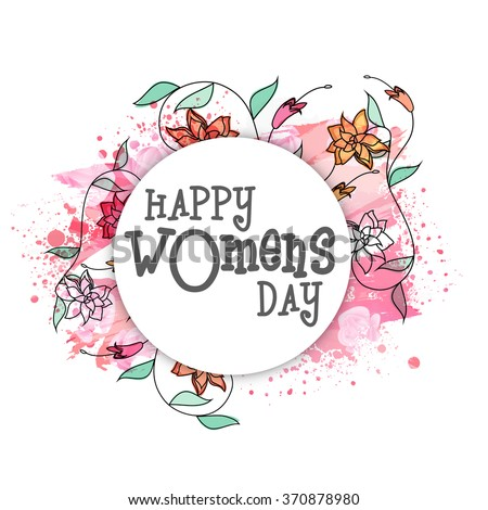 Elegant greeting card design decorated with beautiful flowers for Happy Women's Day celebration. - stock vector