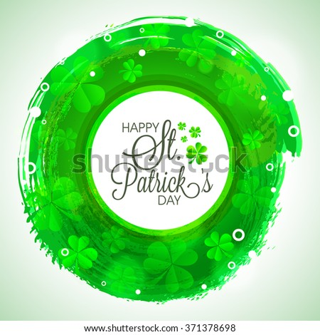 Elegant greeting card design decorated with glossy Shamrock Leaves for Happy St. Patrick's Day celebration. - stock vector