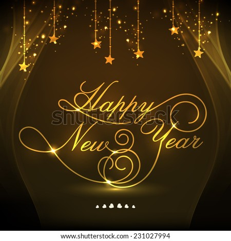 Elegant greeting card design decorated with golden text Happy New Year and hanging stars on shiny brown background. - stock vector