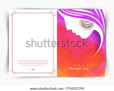Elegant greeting card design with creative illustration of girl face for Happy Women's Day celebration. - stock vector