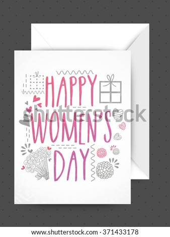Elegant greeting card design with glossy envelope for Happy Women's Day celebration.