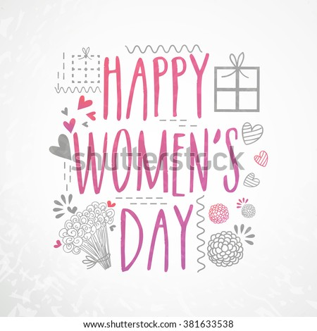 Elegant greeting card design with stylish text Happy Women's Day on grey background. - stock vector