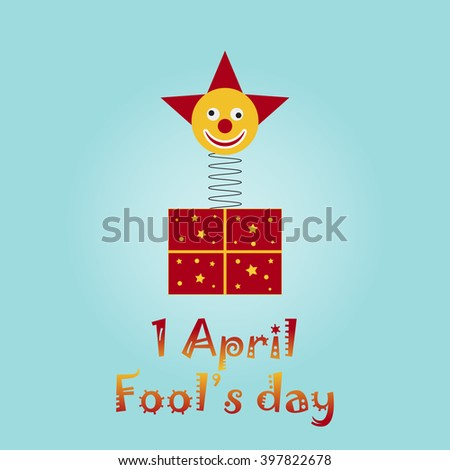 Elegant greeting card for Happy Fools Day. First of April. Fools Day illustration. Jack in the box toy, springing out of a box. Blue background. - stock vector