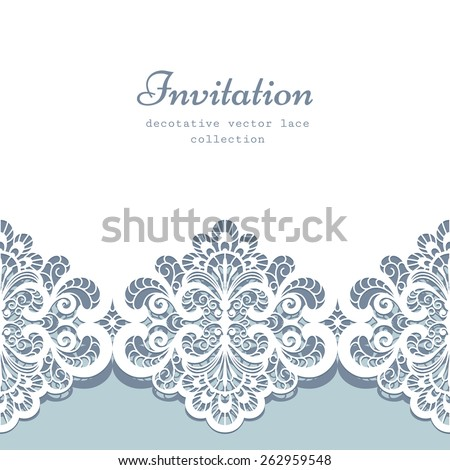 Elegant greeting card or wedding invitation template with lace border ornament, vector lacy background - stock vector