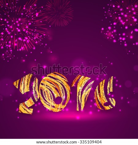 Elegant greeting card with creative text 2016 on fireworks decorated shiny purple background for Happy New Year celebration.  - stock vector