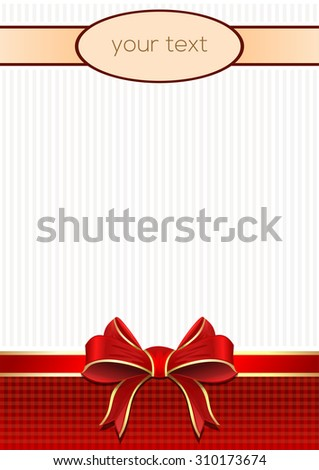 elegant greeting cards with red bows and place for text,  vector - stock vector