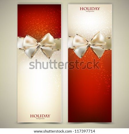 Elegant greeting cards with white bows and copy space. Vector illustration - stock vector