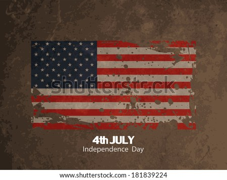 elegant grunge textured american flag theme background design for independence day. vector illustration - stock vector